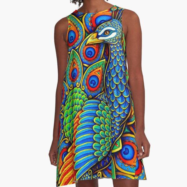 Colorful Paisley Peacock Rainbow Bird A-Line Dress