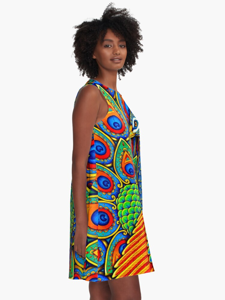Alternate view of Colorful Paisley Peacock Rainbow Bird A-Line Dress