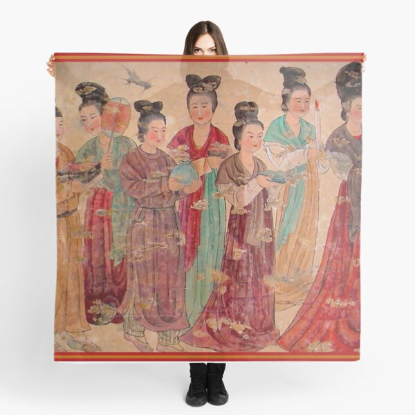 """""""XIAN TIANG DYNASTY"""" Antique Chinese Print Scarf"""