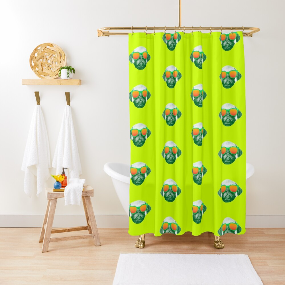 Funny Dog with Sunglasses Shower Curtain