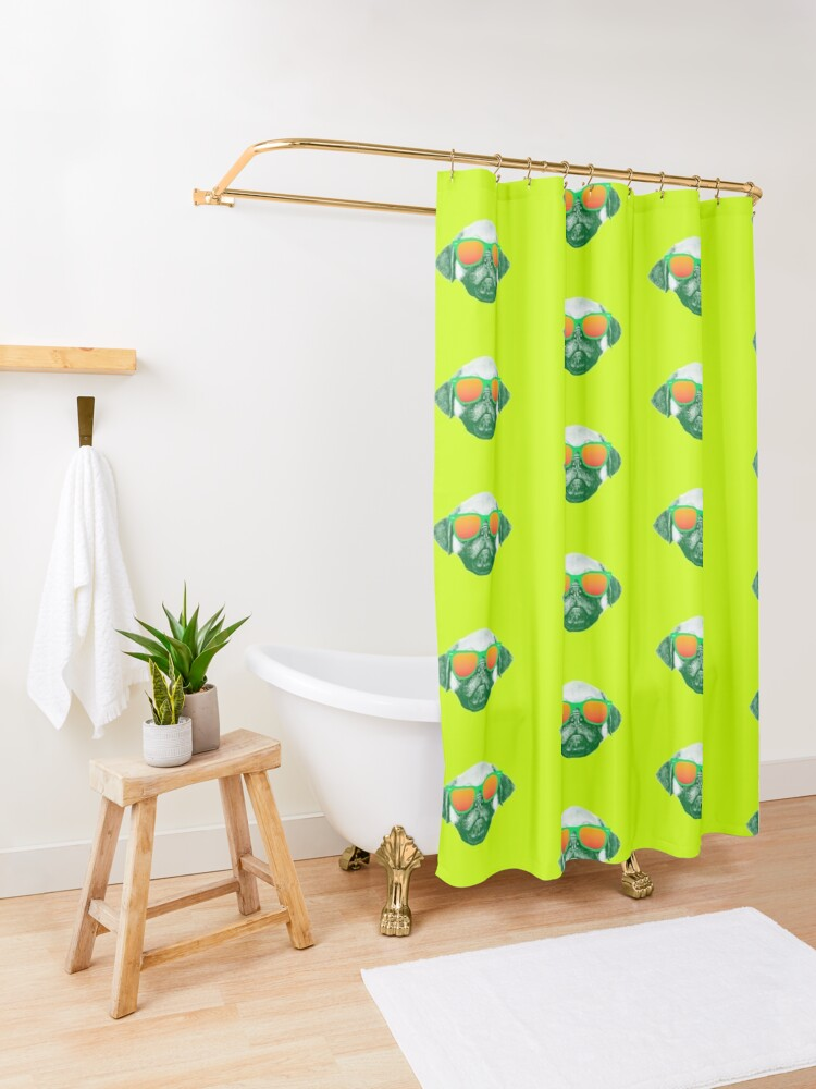 Alternate view of Funny Dog with Sunglasses Shower Curtain