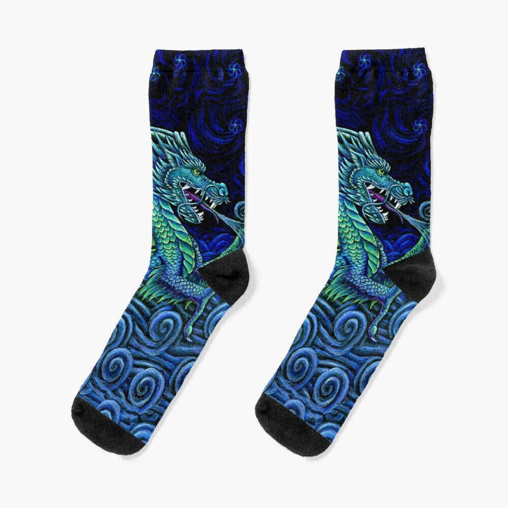 Chinese Azure Dragon Socks
