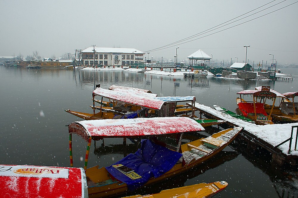 Snow Fall and The Dal Lake by Mukesh Srivastava