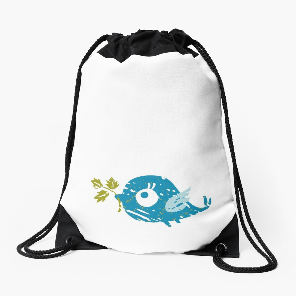 Blue Bird Drawstring Bag