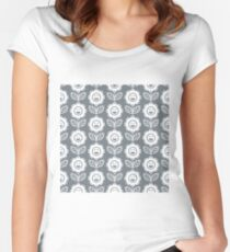 Cool Grey Fun Smiling Cartoon Flowers Women's Fitted Scoop T-Shirt