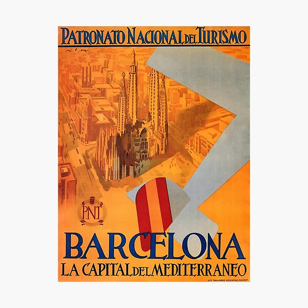 1930s Barcelona Mediterranean Capital Travel Poster Photographic Print