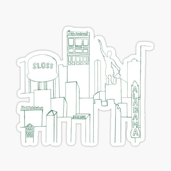 Birmingham Skyline Sketch Sticker
