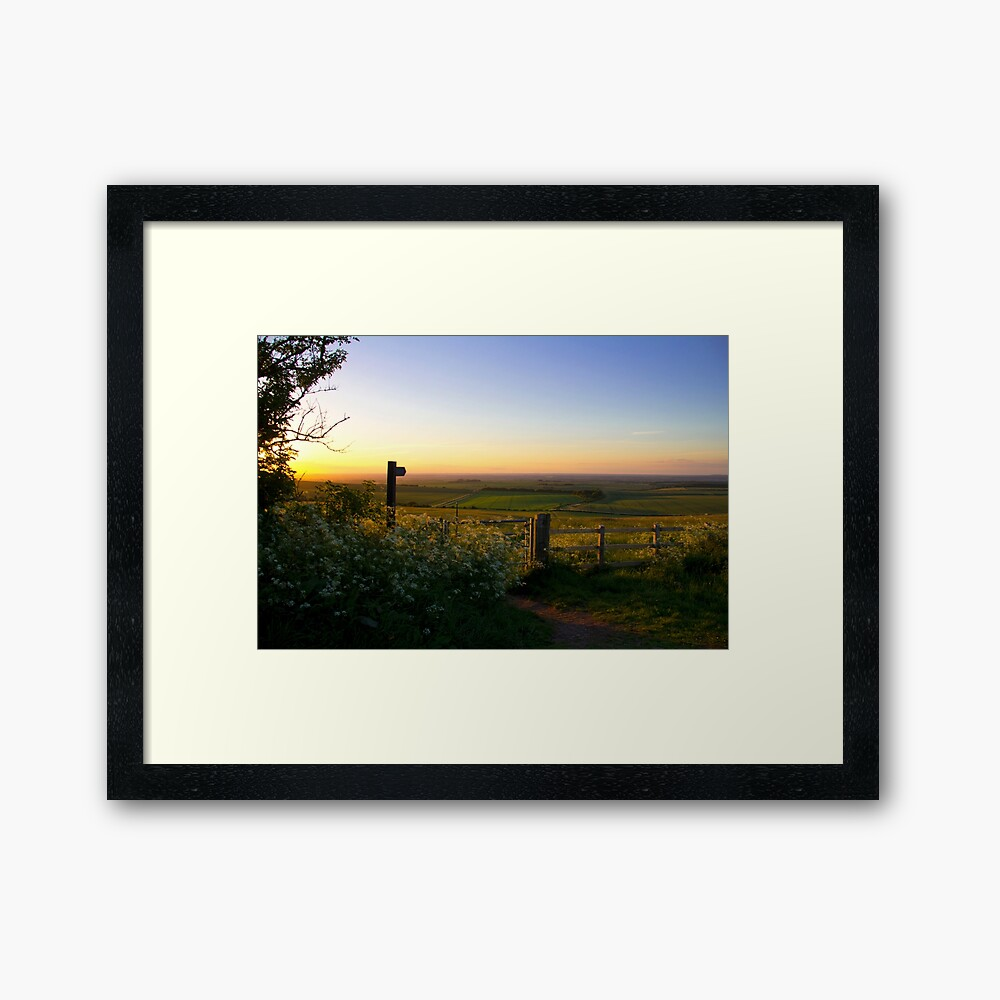 Oxfordshire at sunset from the Downs Framed Art Print