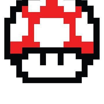 8 bits Mario Nintendo Mushroom Red de astropop