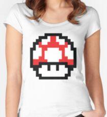 8-Bit Mario Nintendo Mushroom Red Women's Fitted Scoop T-Shirt