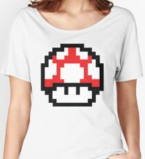 8-Bit Mario Nintendo Mushroom Red Women's Relaxed Fit T-Shirt