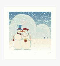 Snowmen Love Art Print