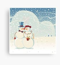 Snowmen Love Canvas Print