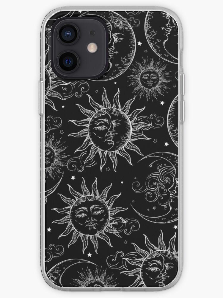 Magie noire céleste soleil étoiles lune   Coque iPhone