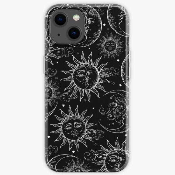 Black Magic Celestial Sun Moon Stars iPhone Soft Case