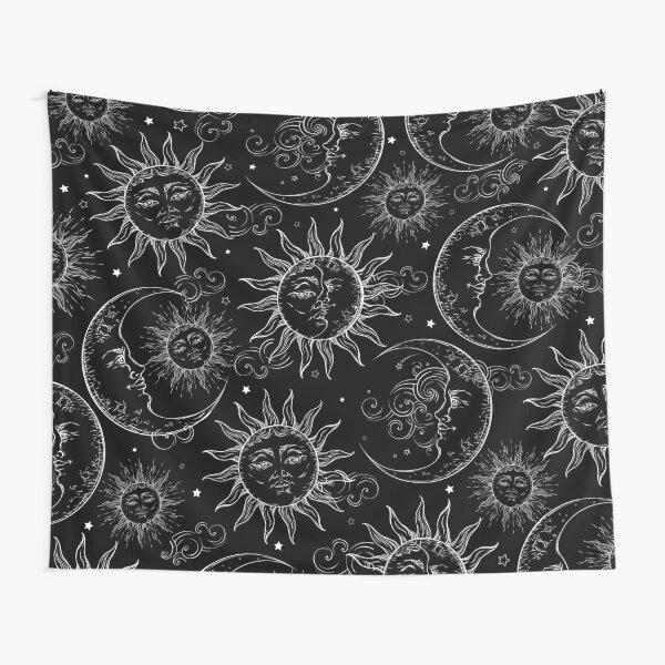 Black Magic Celestial Sun Moon Stars Tapestry