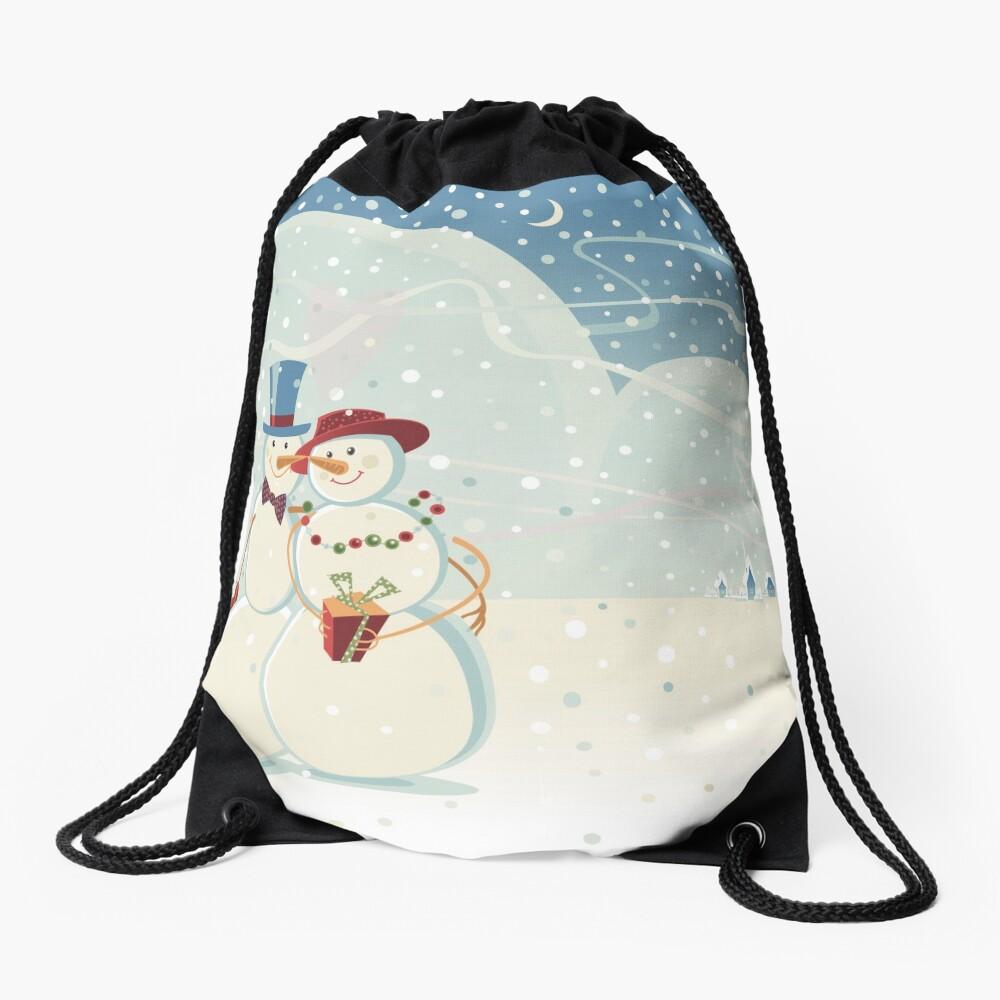 Snowmen Love Drawstring Bag