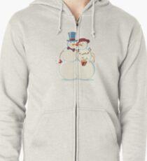 Snowmen Love Zipped Hoodie