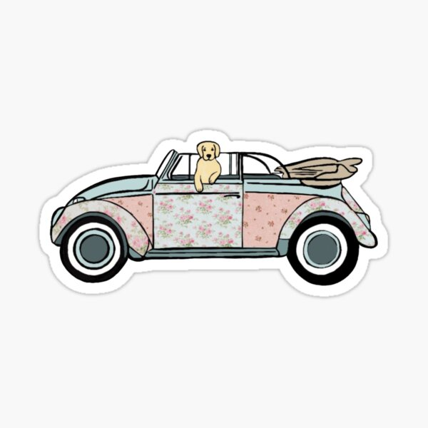 Golden Retriever conduite décapotable chic minable Sticker