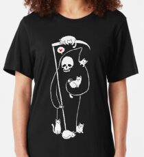 Death Is A Cat Person Slim Fit T-Shirt
