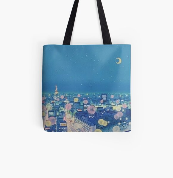 Sailor Moon Background City at Night All Over Print Tote Bag