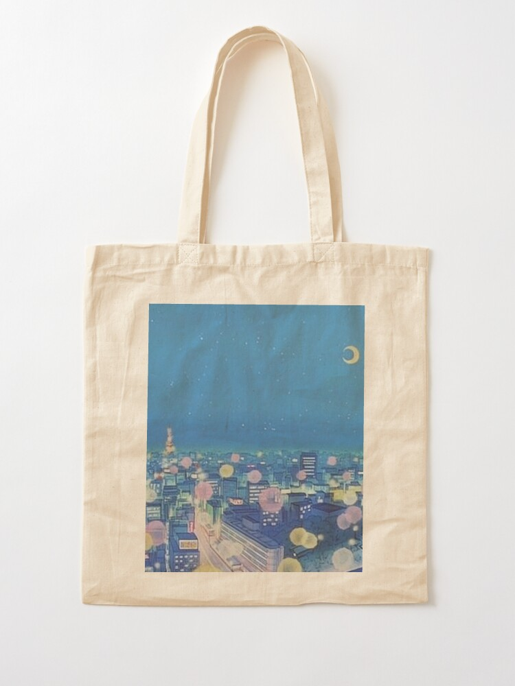 Alternate view of Sailor Moon Background City at Night Tote Bag