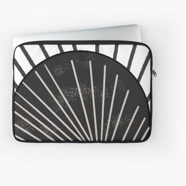 Mid Century Modern Geometric Textured Grunge Black Sun With Rays Laptop Sleeve