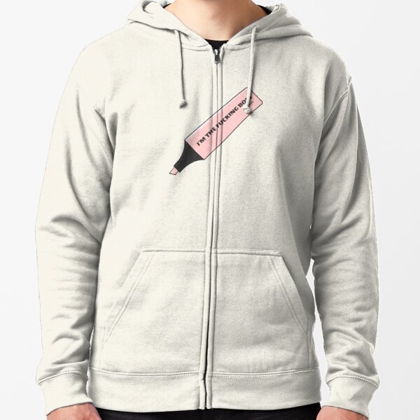 I'm the Fucking Boss Pink Stabilo pen brush by Alice Monber Zipped Hoodie