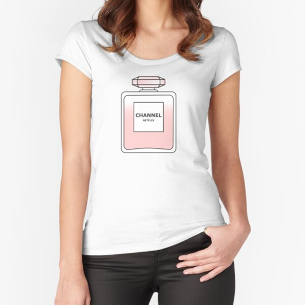 Channel Net flix by Alice Monber Fitted Scoop T-Shirt