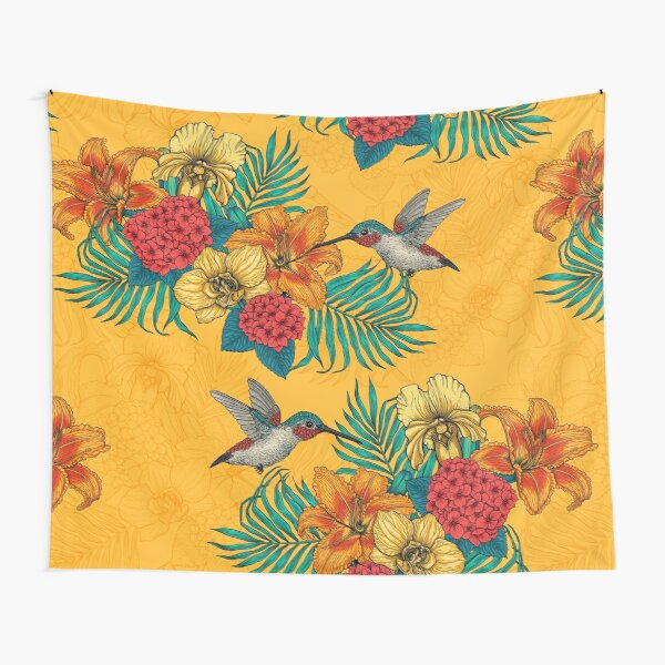 Hummingbirds and tropical bouquet in yellow Tapestry