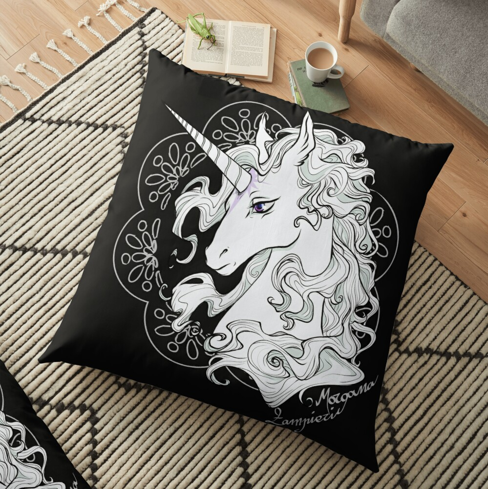 The last unicorn (black) Floor Pillow