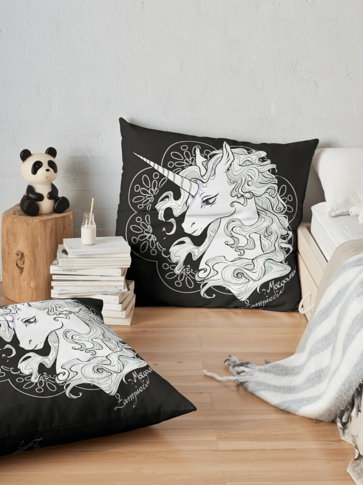 Alternate view of The last unicorn (black) Floor Pillow
