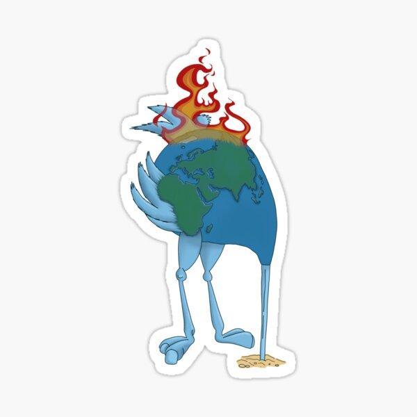 Climate Change Denier Ostrich on Fire- Head in the Sand  Sticker
