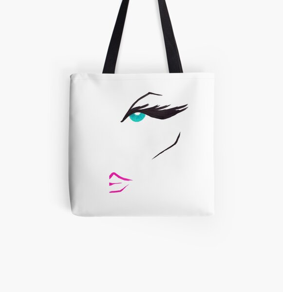 Pink Graphic Fashion Face All Over Print Tote Bag