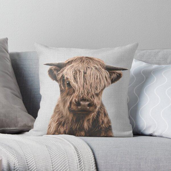 Highland Calf - Colorful Throw Pillow