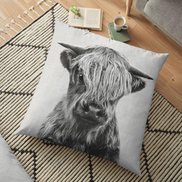 Highland Calf - Noir & Blanc Coussin de sol