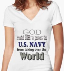 God, Beer & the U. S. Navy Women's Fitted V-Neck T-Shirt