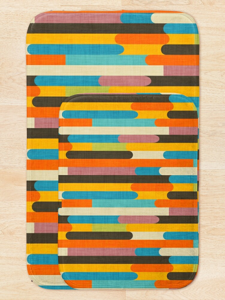 Alternate view of Retro Color Block Popsicle Sticks Orange  Bath Mat