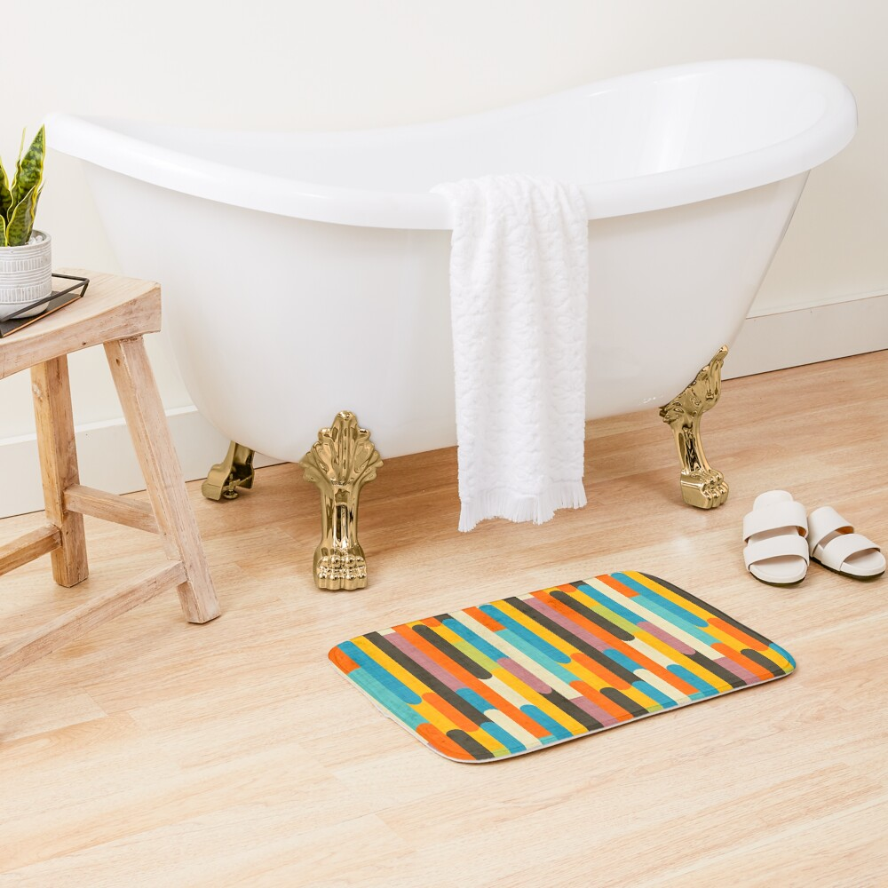 Retro Color Block Popsicle Sticks Orange  Bath Mat