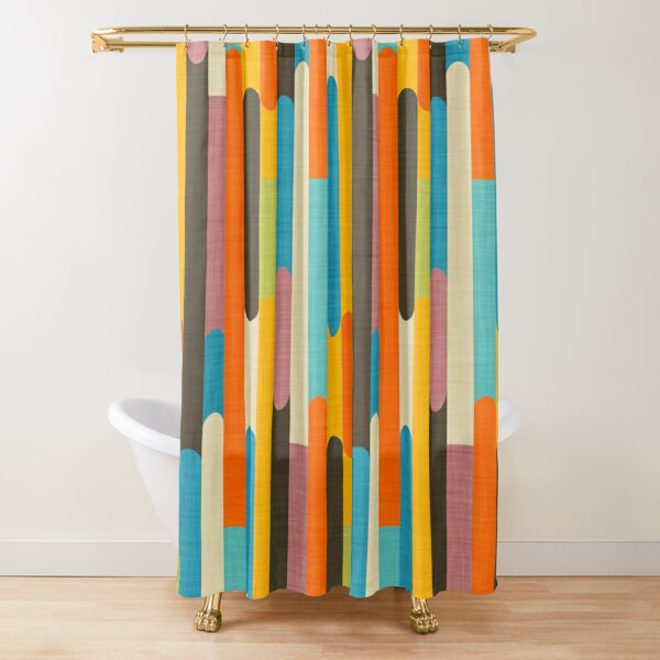 Retro Color Block Popsicle Sticks Orange  Shower Curtain