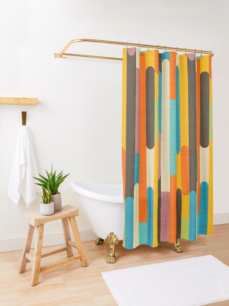 Alternate view of Retro Color Block Popsicle Sticks Orange  Shower Curtain