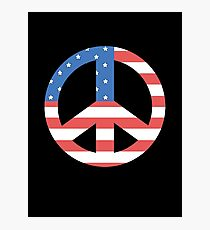 Peace Symbol with American Flag T-Shirt Photographic Print