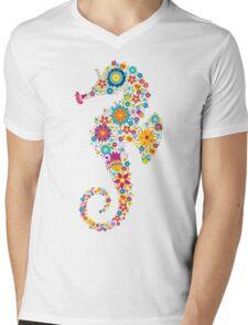 Cute Colorful Retro Flowers Sea Horse Illustration T-Shirt