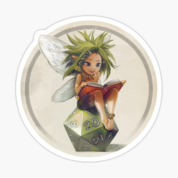 RPG fairy on her d20 dice Sticker