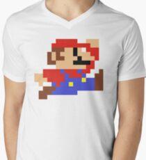 8-Bit Mario Nintendo Jumping Men's V-Neck T-Shirt