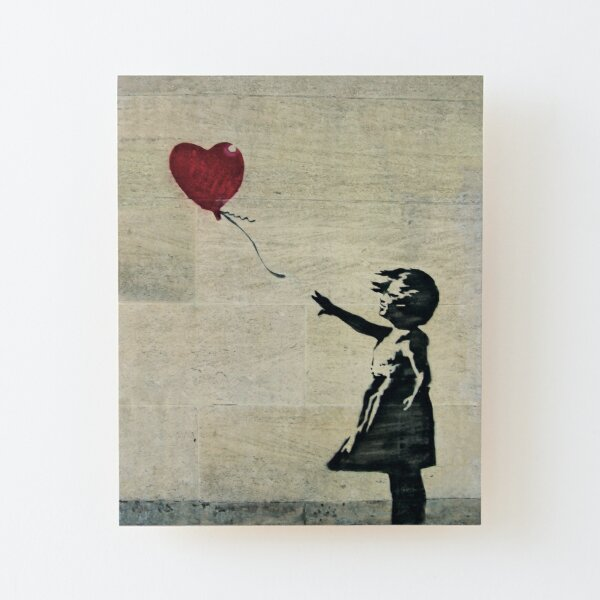 Banksy's Girl with a Red Balloon III Wood Mounted Print