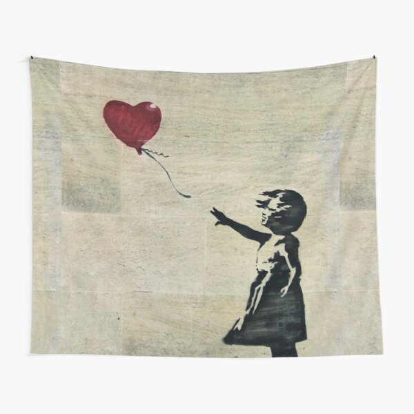 Banksy's Girl with a Red Balloon III Tapestry