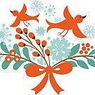 Cute Christmas Birds And Christmas Wreath by artonwear