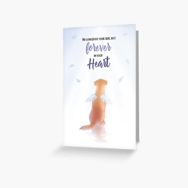 Sympathy Card for loss of dog angel with wings and feathers Greeting Card