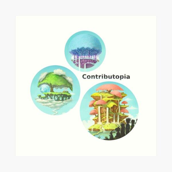 Contributopia (avec titre et planètes en bulles) Impression artistique
